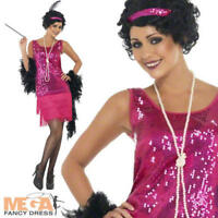 Hot Pink Funtime Flapper Fancy Dress Ladies 1920s Charleston Womens Costume 8-22