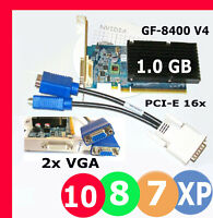 WINDOWS 10 DUAL Monitor 1GB PCI-E 2.0 x16 Video Card. 2xVGA SILENT NVIDIA GF8400