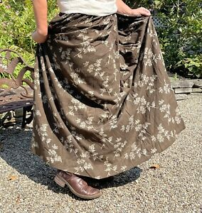 Brown Floral Calico Cotton Full Skirt 19th Century