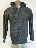 Mens Volcom Full Zip Hoodie Sweatshirt Size L Cotton Hooded Gray All Over Print