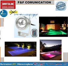FARO FARETTO SUBACQUEO LAMPADA A LED RGB 10W WATT 12V ESTERNO CON TELECOMANDO R6