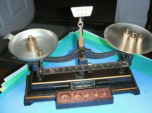 ANTIQUE old SCALE HENRY TROEMNER CAST IRON BALANCE SCALE APOTHECARY SCALE