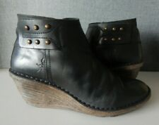 FLY LONDON SADE BLACK LEATHER WEDGE ANKLE BOOTS UK 6 EU 39 GOOD USED CONDITION