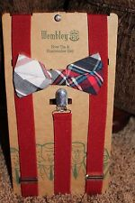 NEW men WEMBLEY 2pc BOW TIE & SUSPENDER SET red PLAID adjust PRE-TIED white BLUE