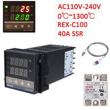 0℃~1300℃ Alarm PID REX-C100 Temperature Controller 40A Solid State Relay SSR AM