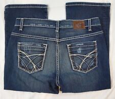 Buckle BKE Drew Cropped Thick Stick Size 29 Dark Wash Distressed Mid Rise Jeans
