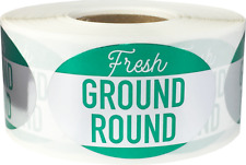 Fresh Ground Round Grocery Food Stickers, 1.25 x 2 Inches, 500 Labels on a Roll