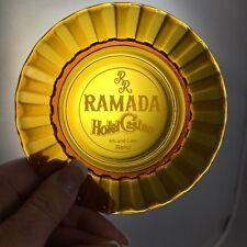 Vintage Ramada Hotel and Casino Reno amber glass ashtray B20
