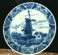 "Delfts Blauw Windmill Scape - Wall Plate / Charger - 15 1/2"" Diameter"