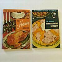 Lot 2 Culinary Arts Cookbooks Holiday and Refrigerator Desserts Vintage Recipes