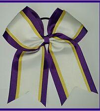 """8"""" Purple, Yellow, White, Big Cheer Bows, Softball Cheerleading 3 layer Lakers"""