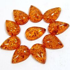 BALTIC AMBER PEAR SHAPE 42.40 CTS LOOSE CAB IN A WHOLESALE LOT 10 PC S-18X12X5MM