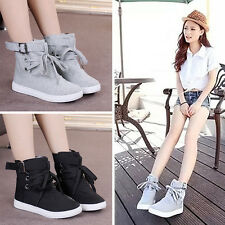 Fashion Women's Ankle Boots Sneakers Buckle Strap High Top Sport Canvas Shoes