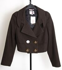 VIVIENNE WESTWOOD Brown Wool Pinstripe Cropped Double Breasted Jacket 6 XS