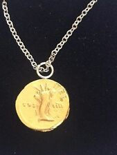 """Aureus Of Domitian Coin WC28 Gold Made In Pewter On 24"""" Silver Plated Necklace"""