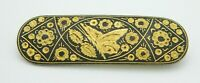Gold Tone Damascene Butterfly Floral Flower Pin Brooch C Clasp Vintage