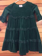*HANNA ANDERSSON* Girls Green Velour Tulle Trim Tiered Dress 110 4-5-6