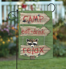 NEW Toland - Relax - Cute Funny Raccoon Camp Eat Drink Double Sided Garden Flag