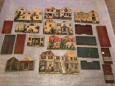 Antique e.1900's Victorian Cardboard Village Town Buildings Set McLaughlin ?