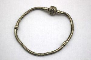 """PANDORA Sterling Silver .925 Barrel Clasp Snake Plain Bracelet Signed 7.5"""" 7 1/2"""