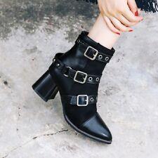 Womens Rivets Block Heel Buckle Ankle Martin Boots Punk Pointy toe Side Zip Shoe