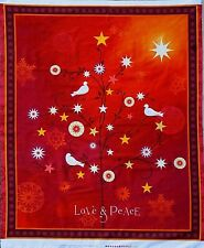 "CHRISTMAS FABRIC PANEL  LOVE & PEACE DOVES STARS SNOWFLAKES QUILTING  35"" COTTON"