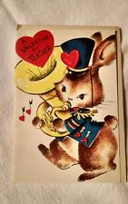 Vintage Valentine Card For Teacher Bunny Playing Tuba Wishing Well Greetings