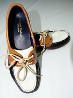Samuel Windsor Quality Slip on Deck shoes / Loafers Tan-White-Blue uk 8.5 New