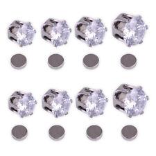Men Women Magnetic Zircon Earrings Fake Ear Stud Silver Plated Non Piercing