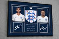 Marcus Rashford & Jesse Lingard England Signed Framed Canvas Print Great Gift