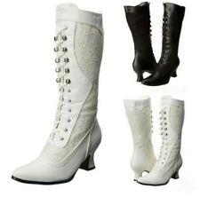Ladies Steampunk Cowboy Boots Pointed Toe Mid Heels Lace Wedding Mid Calf Boots