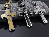 24''28''Men Stainless Steel Jesus Cross Pendant Gold Silver Black Chain Necklace