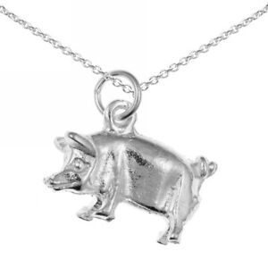 New Sterling Silver Pig / Piggy Pendant and Chain / Necklace Jewellery
