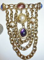 AMAZING Vintage 1940's Gold Tone Glass Cabochons Pearl Chatelaine Chain Brooch
