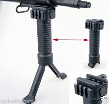AIRSOFT black FORE GRIP W/ BIPOD PICATTINNY WEAVER RAIL FOREGRIP