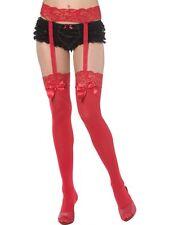 Red Thigh High Stockings & Garter Bijou Boutique SENT FROM UK Ladies Fancy Dress