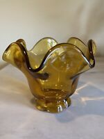 Vintage Short Amber Glass Ruffled Edge Compote Candy Trinket Dish