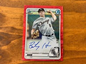 Bailey Horn 2020 Bowman Chrome Draft Red Wave Refractor Rookie Auto RC #'d 4/5