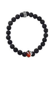 King Baby Studio WOMEN 8mm Lava Rock Bracelet Red Coral Raven Claw K40-5808-7.5