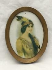 Antique Native American Indian Princess Lithograph / Print in Tin Frame