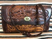 Vintage Clifton'S Hand Tooled Tan Leather Shoulder Bag - Beautiful Condition