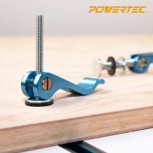 "POWERTEC Aluminum Cam Clamp 1/4""-20 Threaded Insert Hold-Down Clamp, 2pcs"