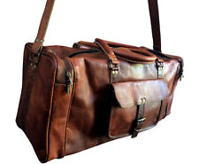 """25"""" Men's Real Leather luggage gym Handmade overnight duffle bag vintage Large"""