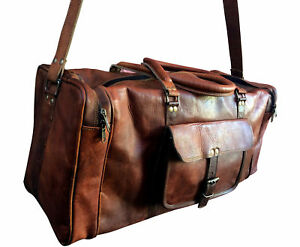 "25"" Men's Real Leather luggage gym Handmade overnight duffle bag vintage Large"