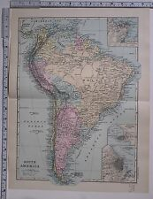 1891 ANTIQUE MAP ~ SOUTH AMERICA CHILE BRAZIL VENEZUELA BOLIVIA URUGUAY
