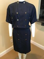 CHANEL Vintage Navy Silk Blouson Double Breast Dress Size 38 US 4