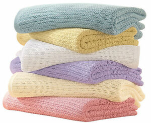 100% Cotton Soft Hand Woven Classic Light Weight Adult Cellular Blanket Throw