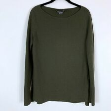 Vince Sweater Women's Size Small Mixed Media Boatneck Wool Blend Pullover Green