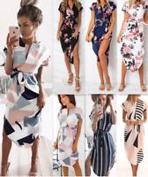 Womens  V-Neck Floral Print Geometric Pattern Short Sleeve Split Belted Dress