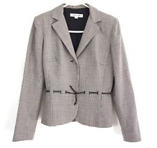 Kay Unger Womens Blazer 4 Wool Red Black Houndstooth Plaid Tie Mini Belt Fitted
